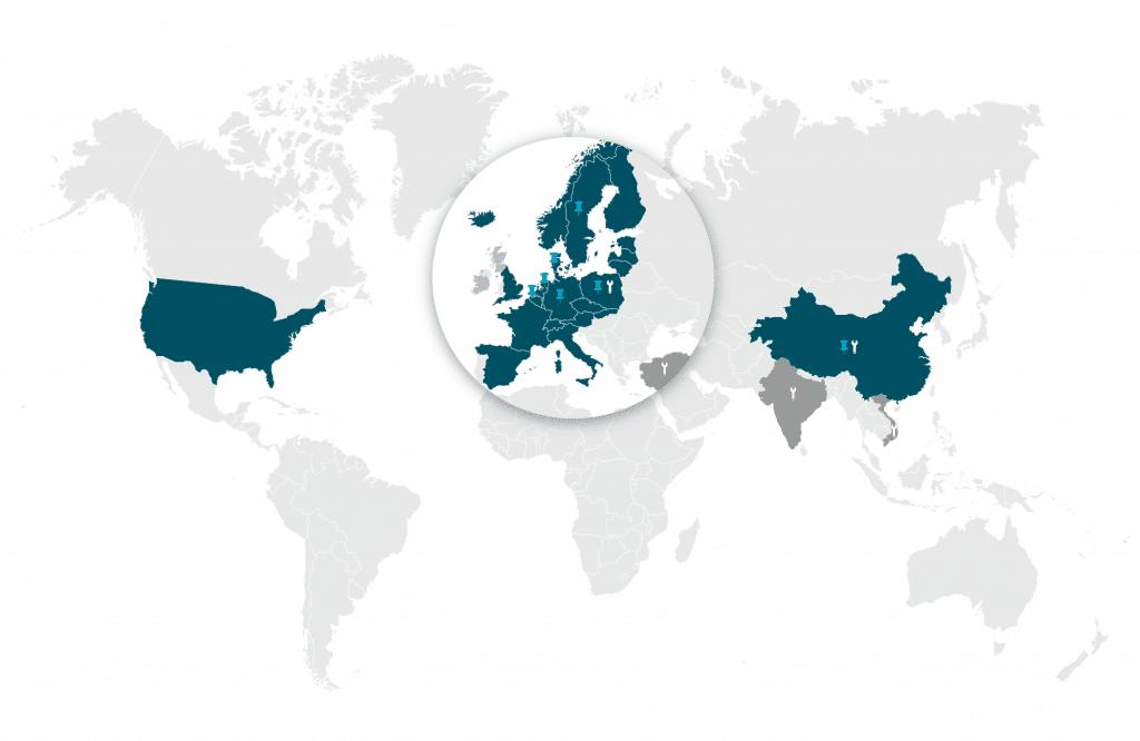 ELCEE locaties verkoopkantoren en productiekantoren wereldwijd