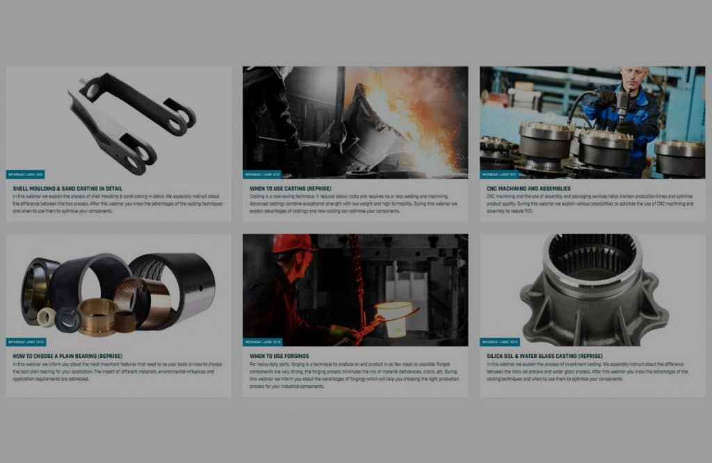 Afbeelding van 6 kolommen die de komende online webinars van ELCEE weergeven
